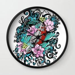 Colored Carpa Koi Wall Clock