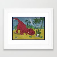 trex Framed Art Prints featuring Trex-tra Cuddly by lindsey salles