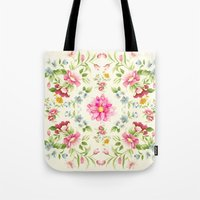 folk Tote Bags featuring folk floral by clemm