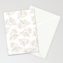 Shabby vintage pastel brown white elegant floral Stationery Cards