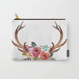 Floral Deer Antlers Carry-All Pouch
