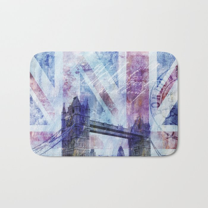 London Tower Bridge mixed media Art and Typography Bath Mat