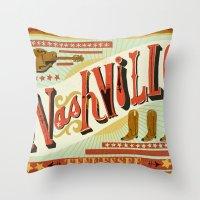nashville Throw Pillows featuring Nashville by Mary Kate McDevitt