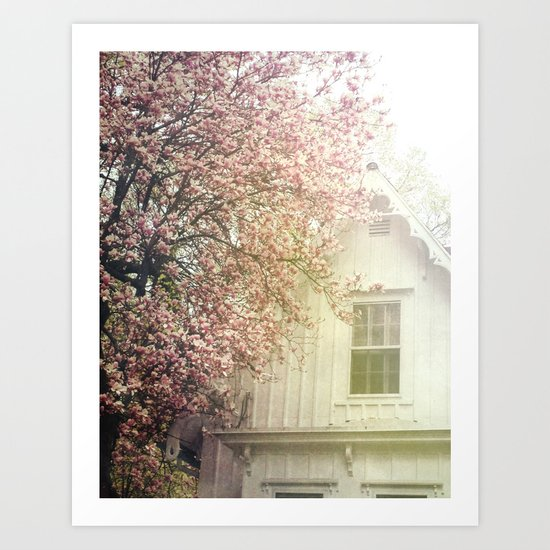 Cottage and Magnolias Art Print