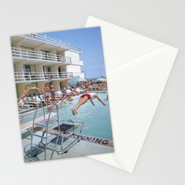 Rio Motel Pool with Trampolines. A 1960's photograph. Wildwood, New Jersey Stationery Cards