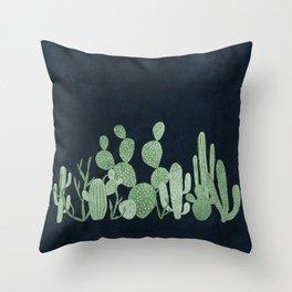 Green cactus garden Throw Pillow
