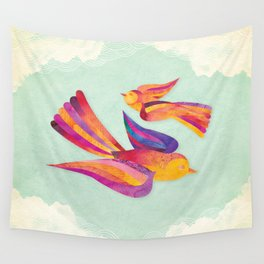 Shanti Sparrow: Daisy and Dawn the Sparrows Wall Tapestry