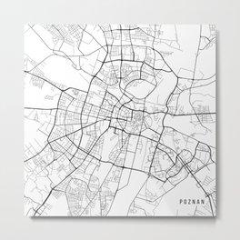Poznan Map, Poland - Black and White Metal Print