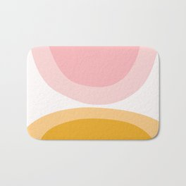 Abstract Shapes 43 in Mustard Yellow and Pale Pink (Rainbow Abstraction) Bath Mat