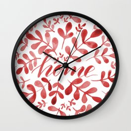 Watercolor home foliage – red Wall Clock
