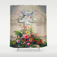 angels Shower Curtains featuring angels by Mariedesignz