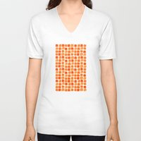 orange pattern V-neck T-shirts featuring Orange Squares Pattern. by Elena O'Neill