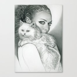 Actress with disappointed cat Canvas Print