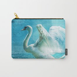 White Swan During a Summer Shower Carry-All Pouch