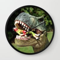 jurassic park Wall Clocks featuring Welcome to Jurassic Park by Jamizzle
