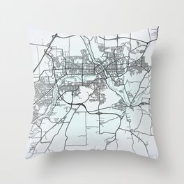 Sherbrooke, QC, Canada, White, City, Map, White, City, Map Throw Pillow