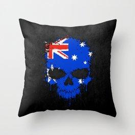 Flag of Australia on a Chaotic Splatter Skull Throw Pillow