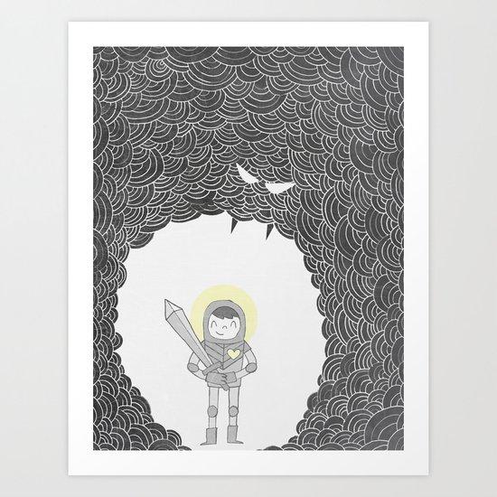 Brave Grey Warrior Art Print