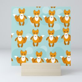 pattern with funny cute fox animal on a blue background Mini Art Print