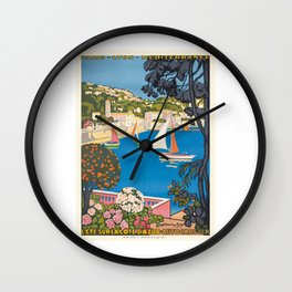 1926 FRANCE Summer On The Cote D'Azur Travel Poster Wall Clock