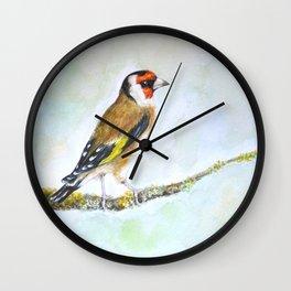 European goldfinch on tree branch Wall Clock
