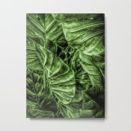 Painted Green Monstera palm leaves by Brian Vegas Metal Print