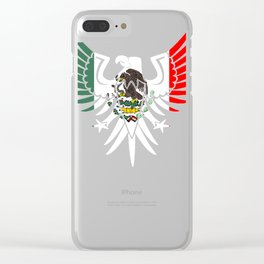 Eagle Mexican Design With Mexican Flag Design For Mexican Pride Clear OUtline Clear iPhone Case