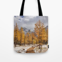 II - Larch trees in fall after first snow, Banff NP, Canada Tote Bag