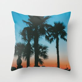 Galveston Sunset 1 (Retro) Summer Throw Pillow