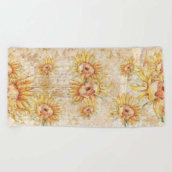 Vintage Sunflowers #5 Beach Towel