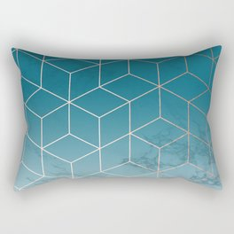 Gold Geometric Cubes Teal Marble Deco Design Rectangular Pillow