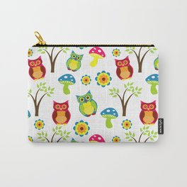 Cute Little Forest Owls Pattern Carry-All Pouch