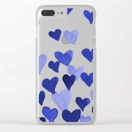 Valentine's Day Watercolor Hearts - blue Clear iPhone Case