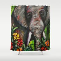 dumbo Shower Curtains featuring Dumbo by Megan Bailey Gill