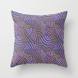 Modern abstract Curved lines pattern in pink, gold yellow, purple. Abstract contemporary art. Throw Pillow