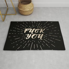 Fuck You! - Black and Gold Rug