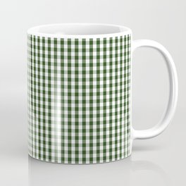 Small Dark Forest Green and White Gingham Check Coffee Mug