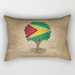 Vintage Tree of Life with Flag of Guyana Rectangular Pillow