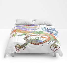 Bright and Vivid Chinese Fire Dragon Vector Comforters