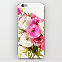 Pink Floral Love, Buttercups, garden flowers, floral artwork iPhone Skin
