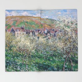 Plum Trees in Blossom by Claude Monet Throw Blanket
