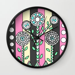 Doodle Art Three Trees - Pink Gray Wall Clock