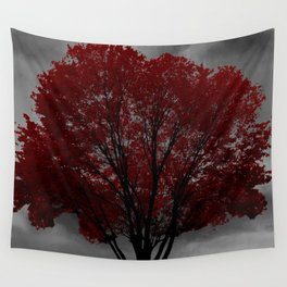 Red Tree, Grey Sky Wall Tapestry
