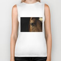 horse Biker Tanks featuring horse by Ingrid Beddoes