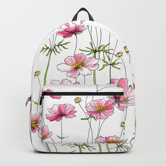 Pink Cosmos Flowers by jrosedesign