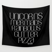 unicorns Wall Tapestries featuring Unicorns by Mia & Booboo