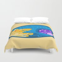 avenger Duvet Covers featuring Space dog the avenger by christopher-james robert warrington