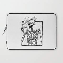 Skeleton Drinking a Cup of Coffee Laptop Sleeve