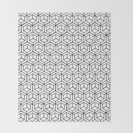 Hand Drawn Hypercube Throw Blanket