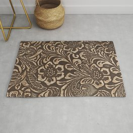 Gold & Brown Flowered Tooled Leather Rug